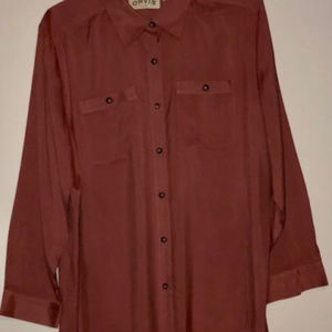 Orvis Casual Shirt Button Down Mens Silk Long Slee